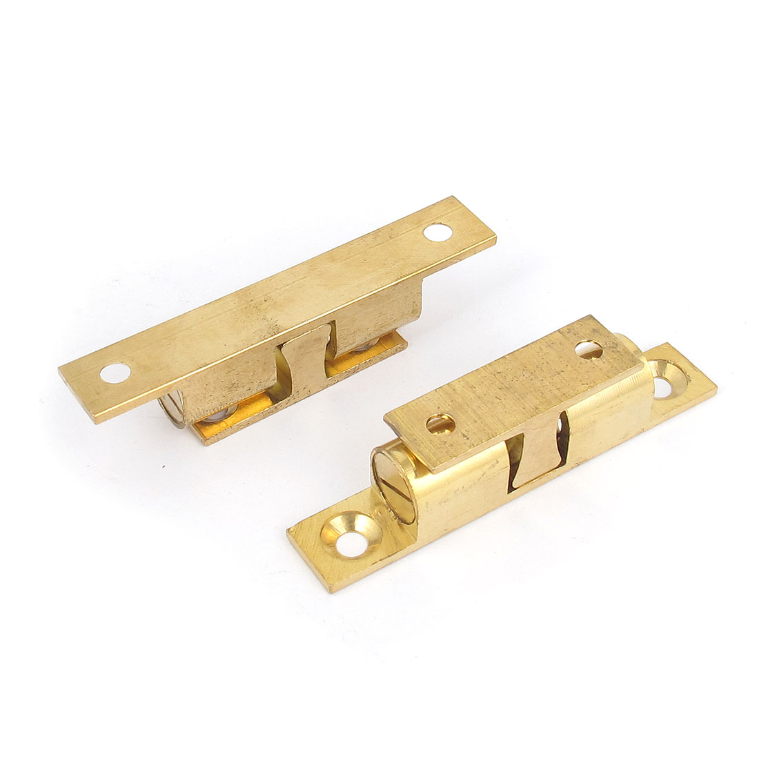 2pcs Cupboard Cabinet Door Double Ball Catch Brass Roller Latch 70mm Long Base