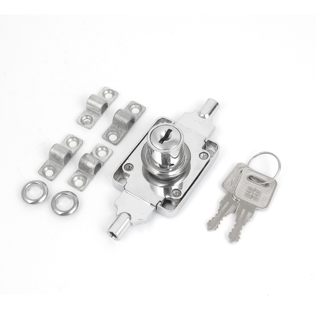 Office Warehouse Rolling Shutter Door Lock Roller Latch Silver Tone w 2 Keys