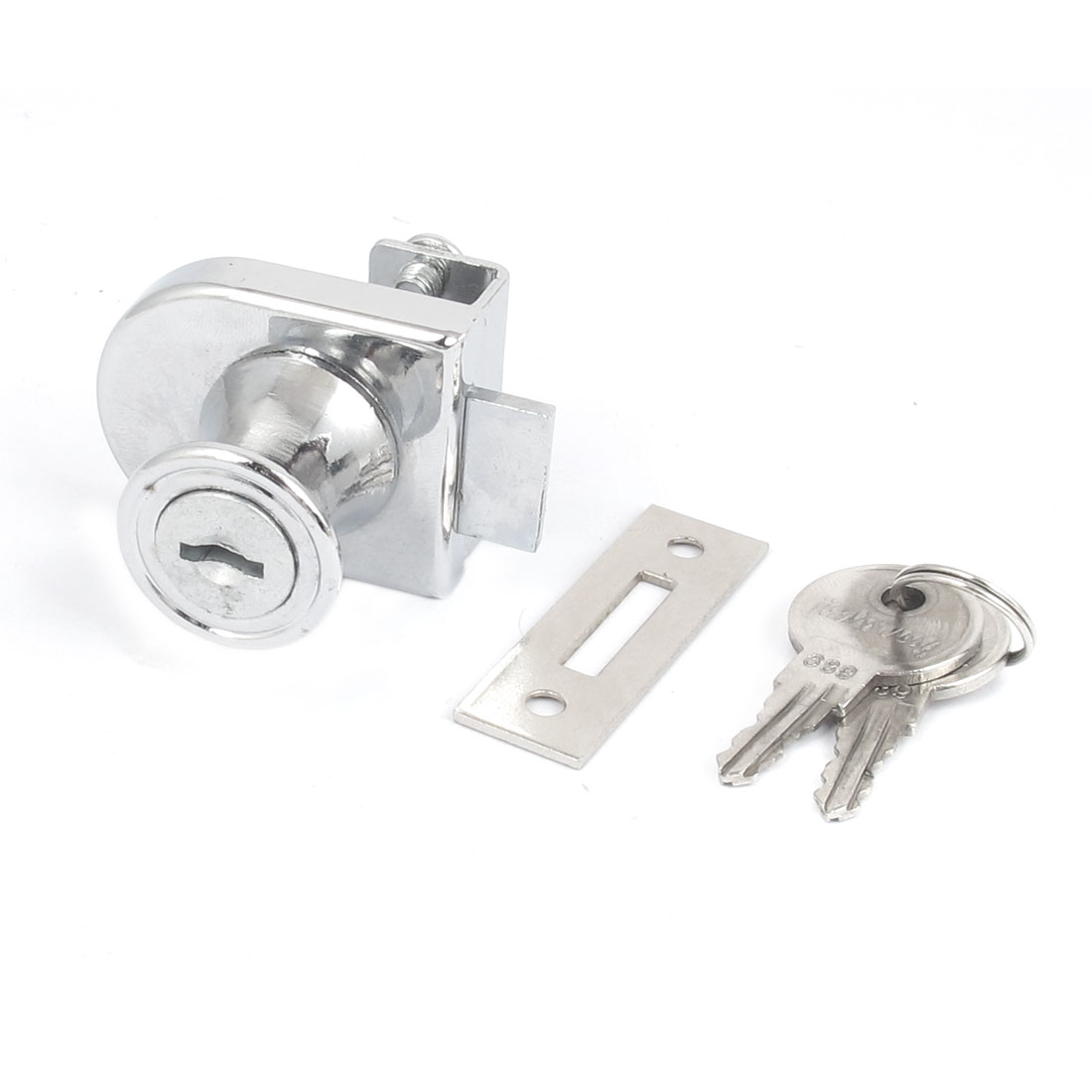 10mm Thickness Keyed Office Shop Cabinet Showcase Glass Door Security Lock Silver Tone
