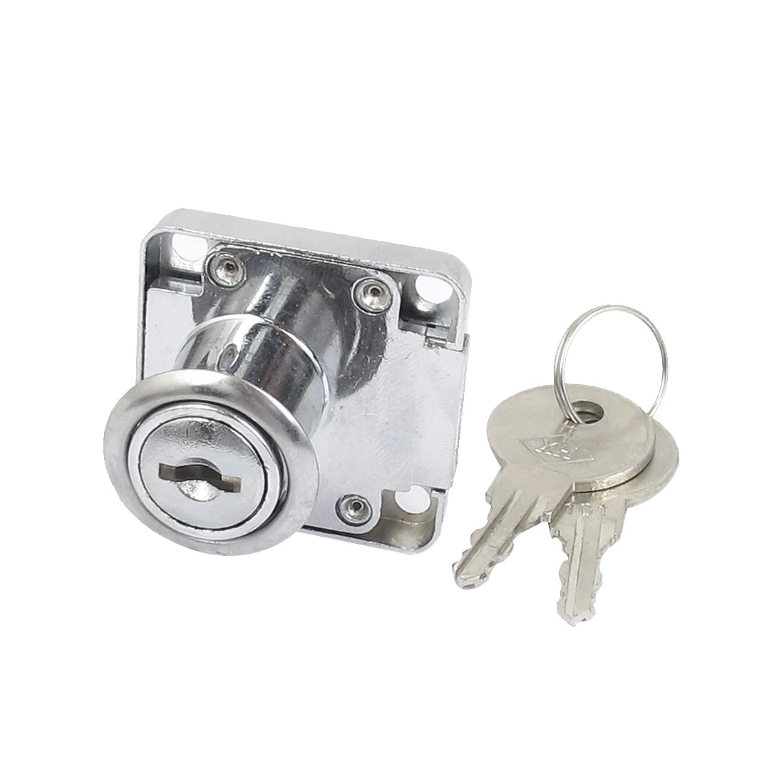 40mmx40mm Glass Cabinet Drawer Single Door Cylinder Head Security Lock Silver Tone w 2 Keys