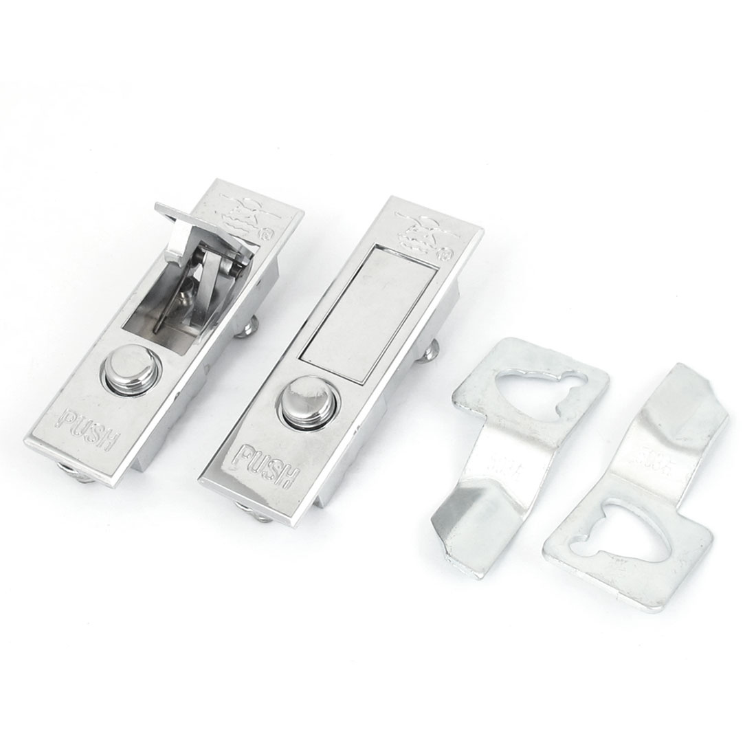 Electric Closet Cabinet Metal Push Button Pop Up Safety Plane Lock Silver Tone 2pcs
