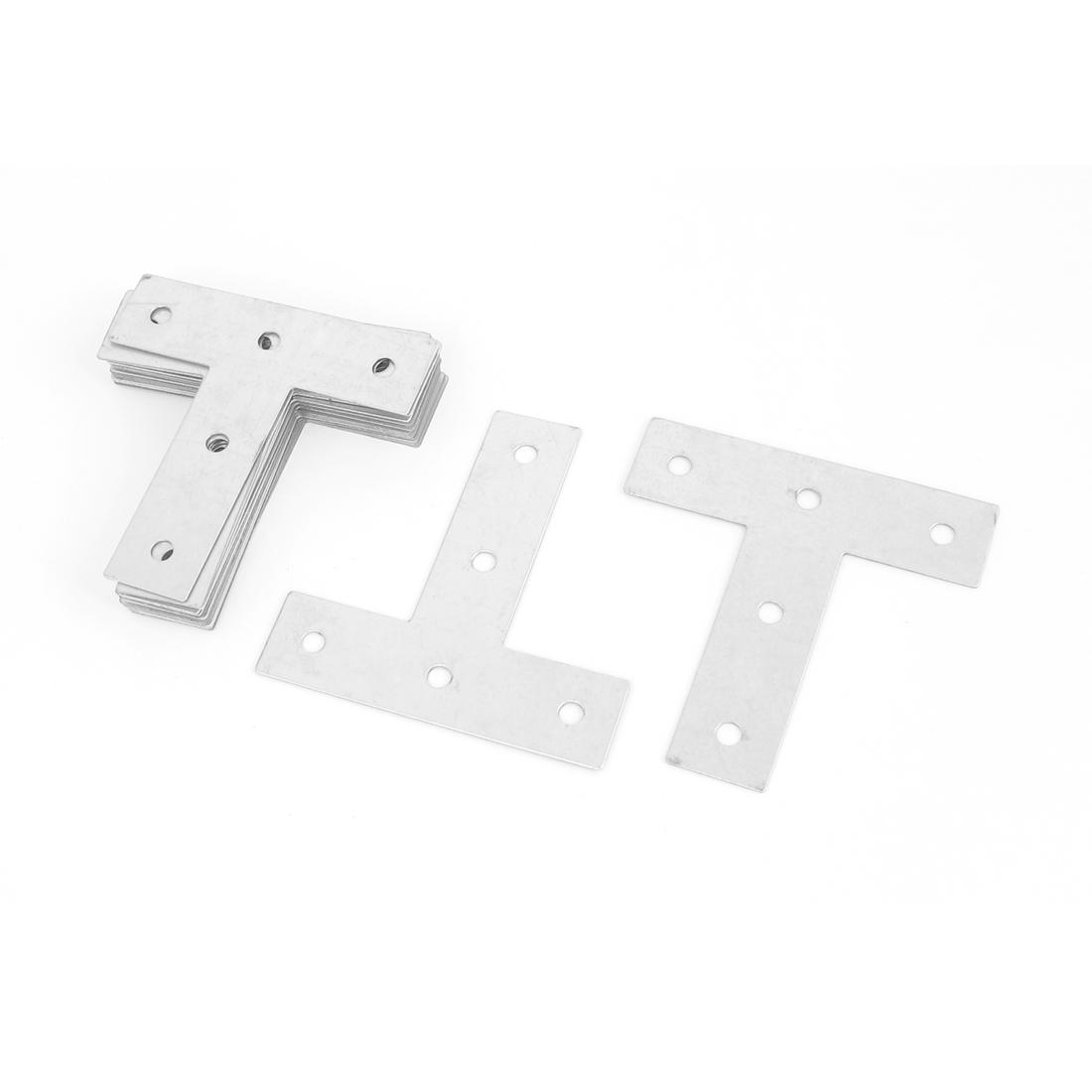 75mmx75mm Angle Plate Corner Brace Flat T Shape Repair Bracket Silver Tone 20pcs