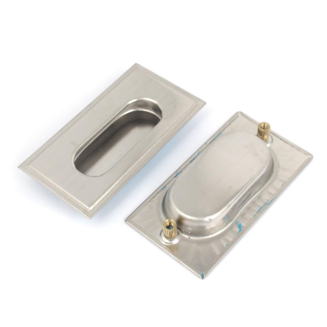 2pcs Zinc Alloy Rectangle Drawer Door Flush Recessed Pull Handle 78mm x 42mm