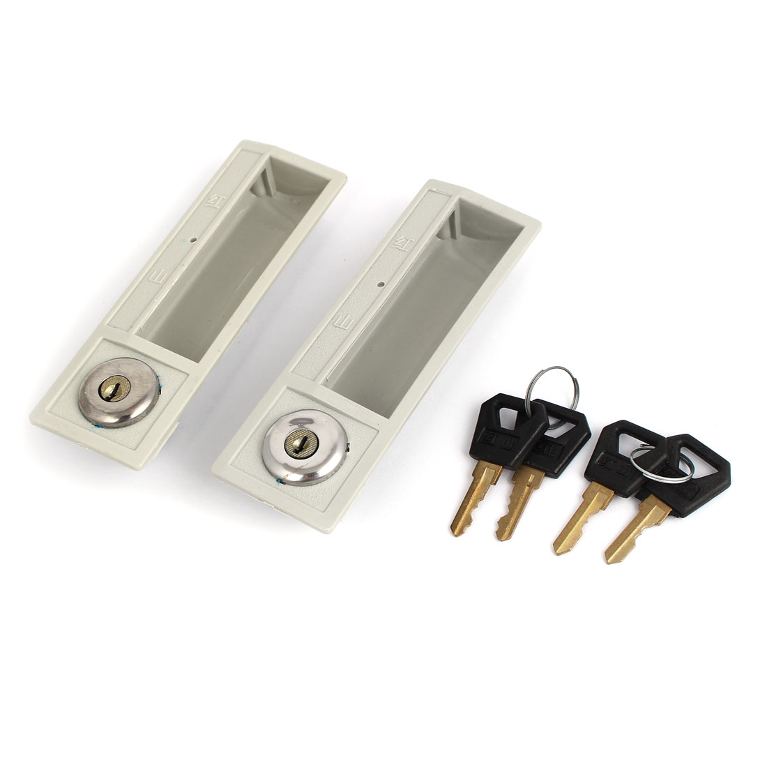 Cabinet Cupboard Door Security Plactic Lock 2pcs w 4 Keys