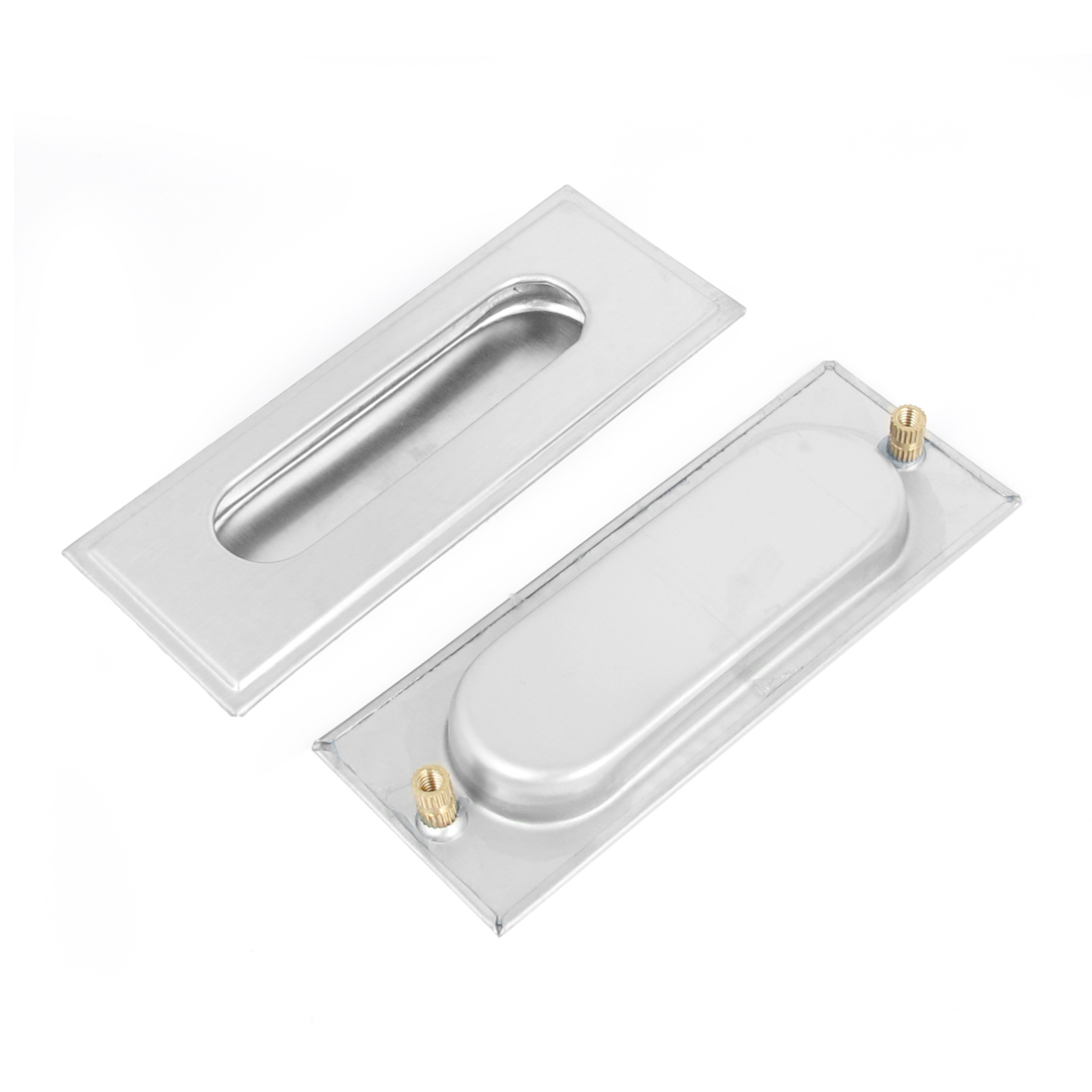2pcs Zinc Alloy Rectangle Drawer Door Flush Recessed Pull Handle 110mm x 40mm
