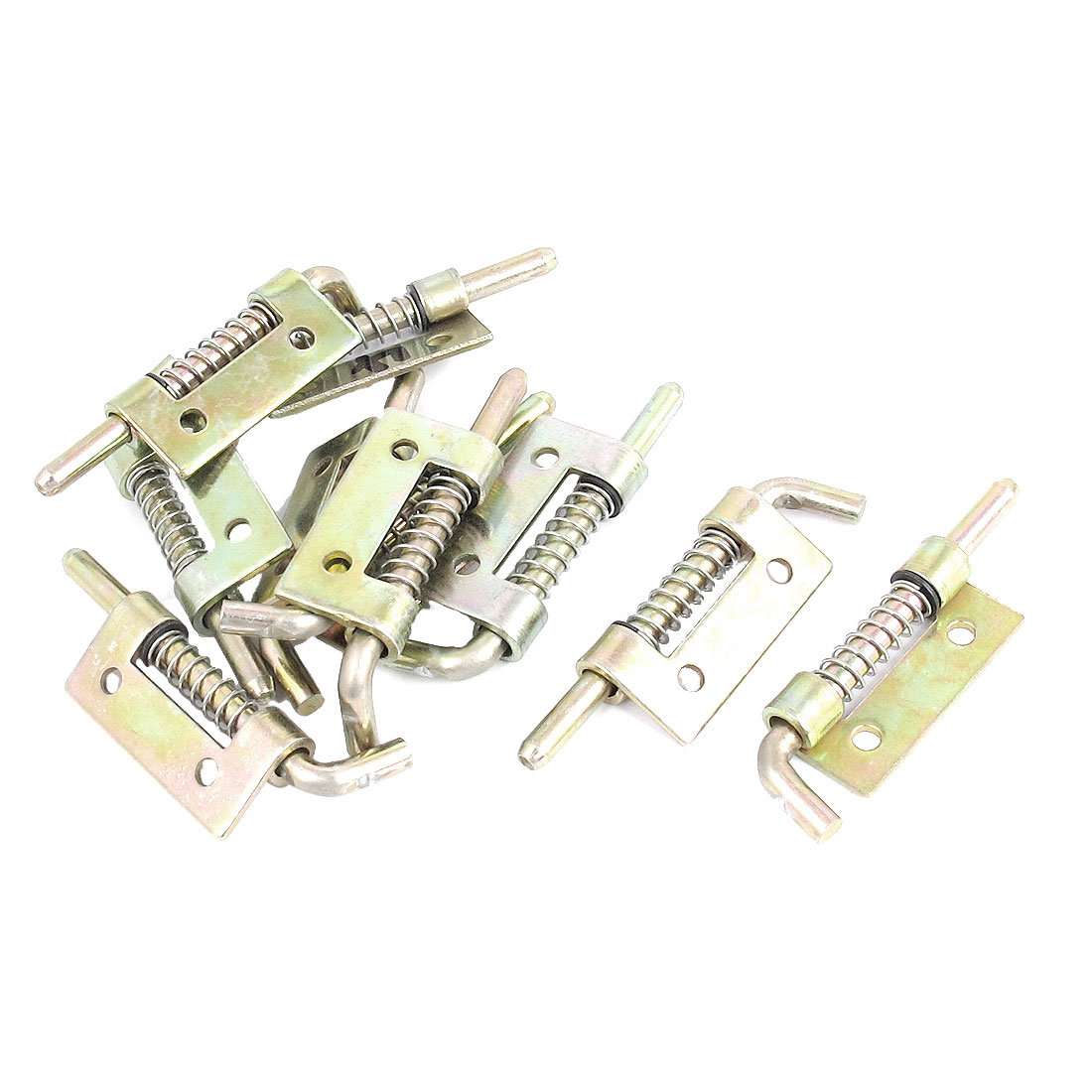 10pcs Cabinet Door Hinges Spring Loaded Metal Left Barrel Bolt Latch 55mm Long