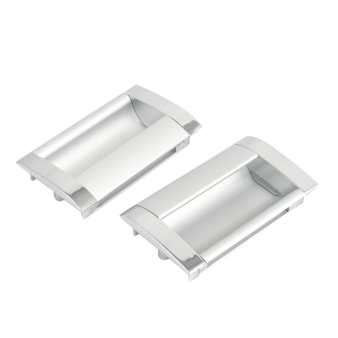 Aluminium Rectangle Drawer Door Flush Recessed Pull Handle Grip 2pcs