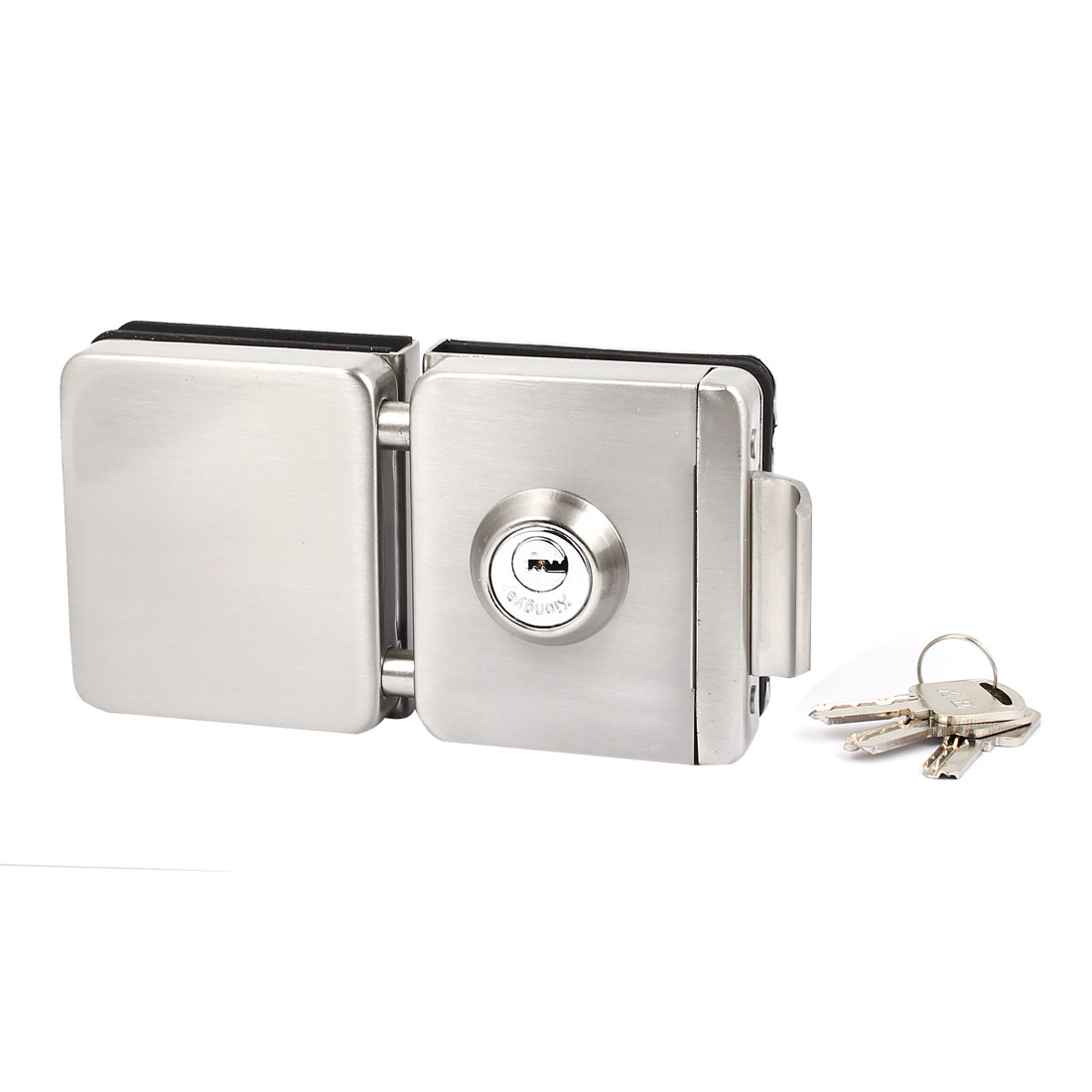Square Glass Door Lock Silver Tone for 10mm-12mm Thickness