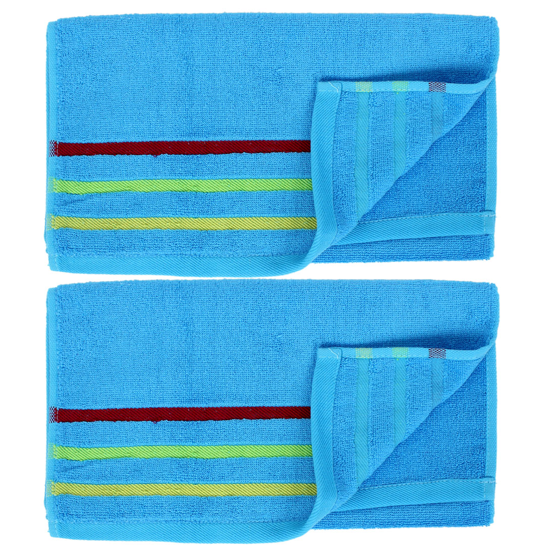 Cotton Blend Shower Face Washing Water Absorbent Terry Towel Washcloths Blue 2pcs