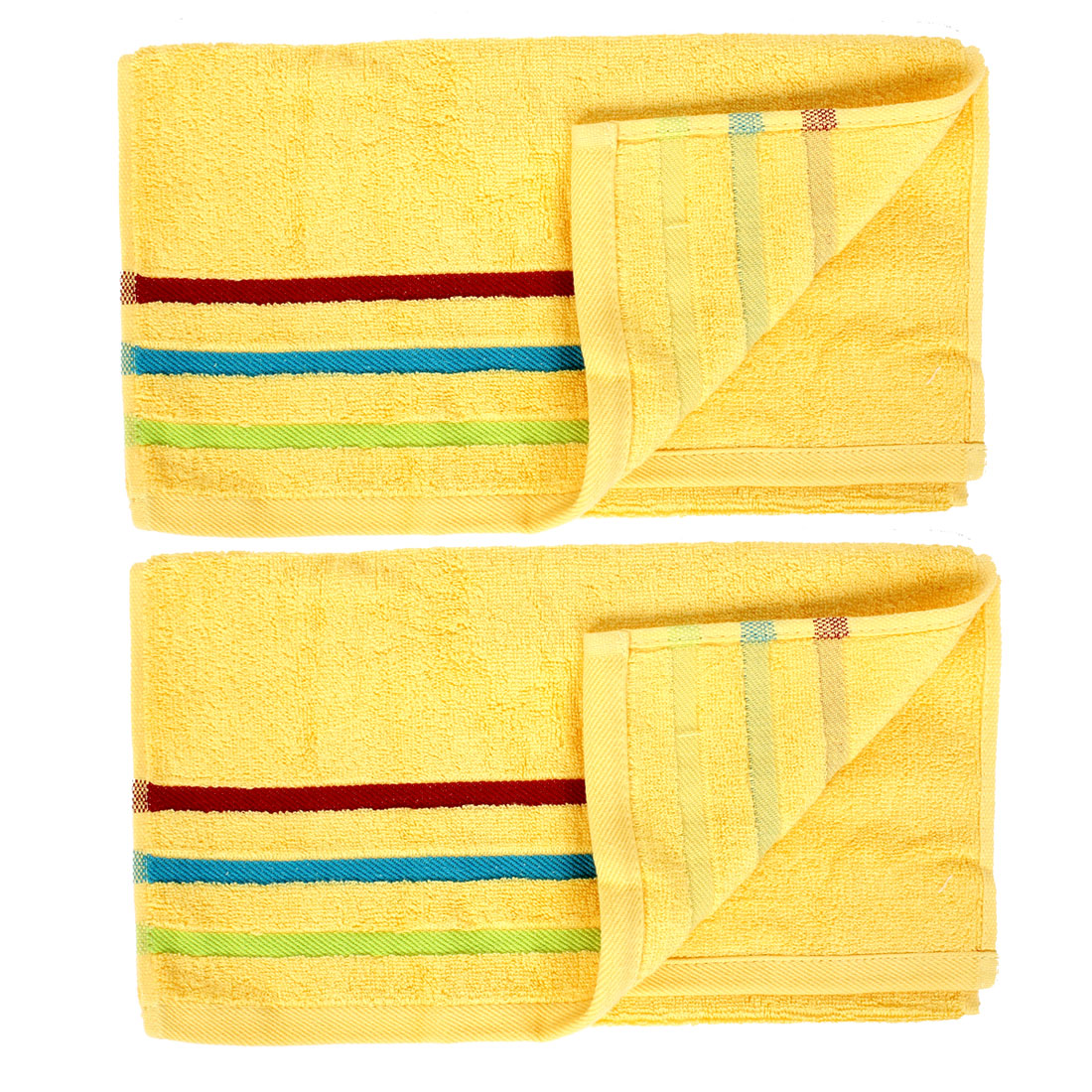 Home Beach Travel Shower Face Washing Terry Towel Washcloths Yellow 2pcs