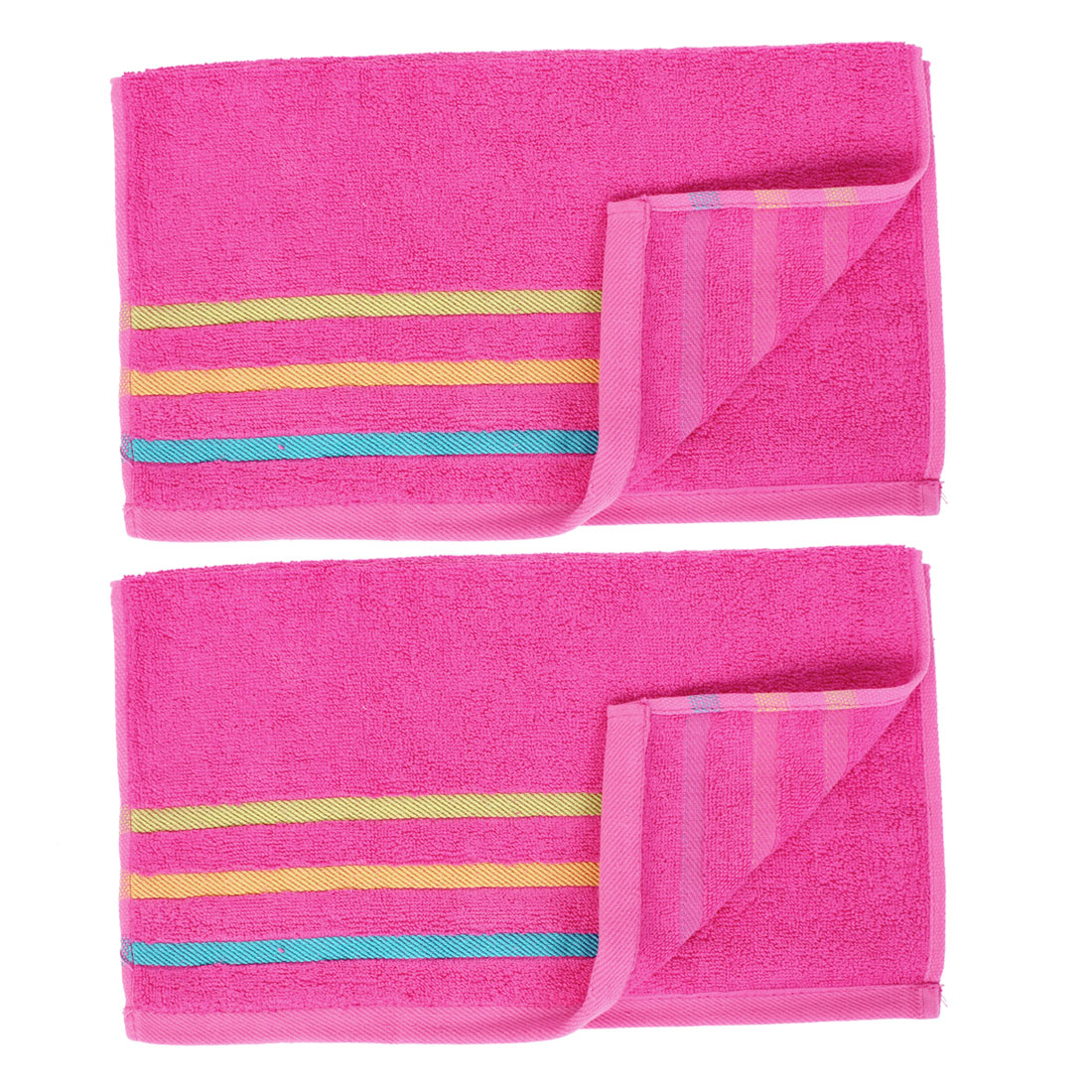Travel Portable Cotton Blend Shower Hand Face Washing Terry Towel Washcloths 2pcs
