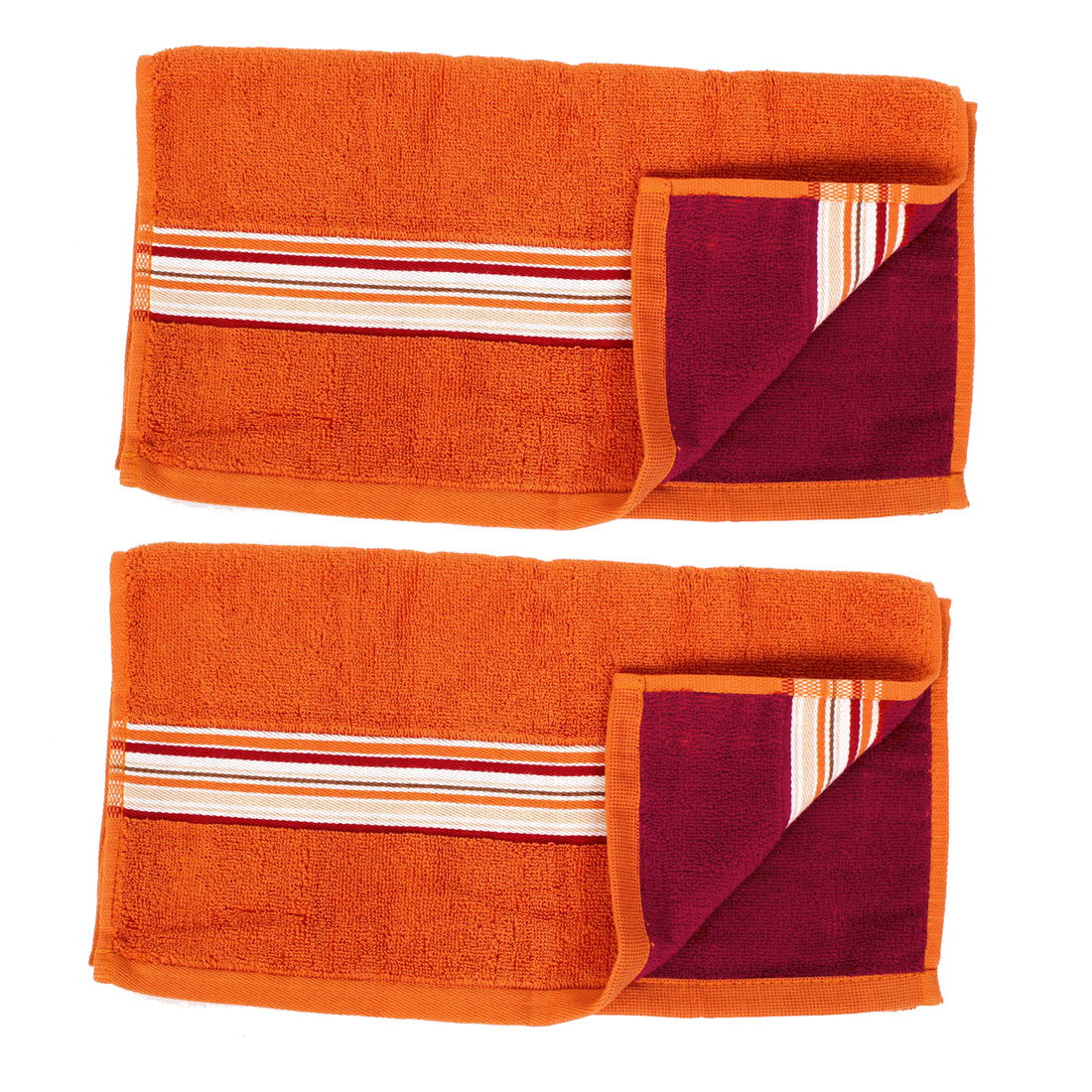 Absorbent Drying Beach Bath Shower Towel Washcloth Orange 34 x 75cm 2pcs