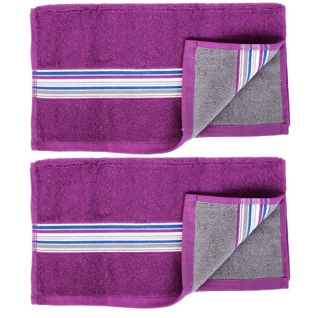 2 Pcs Bamboo Fiber Shower Washing Face Hand Towel Washcloths Purple
