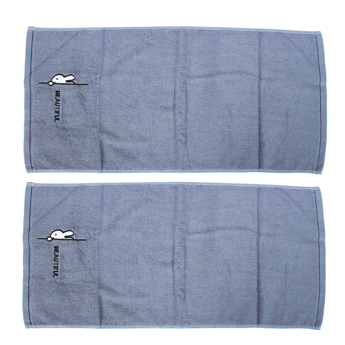Home Beach Travel Portable Shower Face Washing Terry Towel Washcloths Gray 2pcs