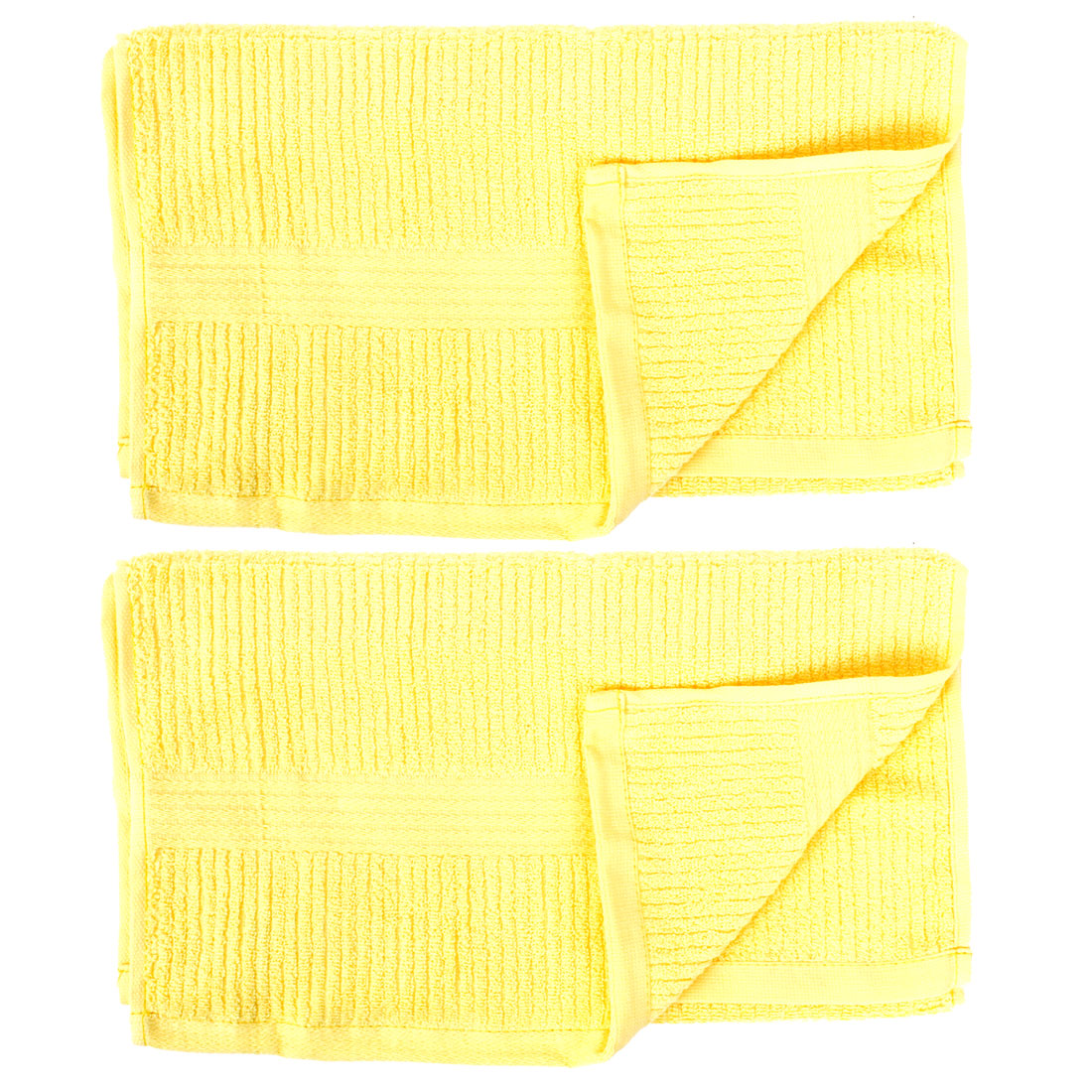2 Pcs Cotton Blend Stripe Pattern Face Hand Washing Towel Washcloths Yellow