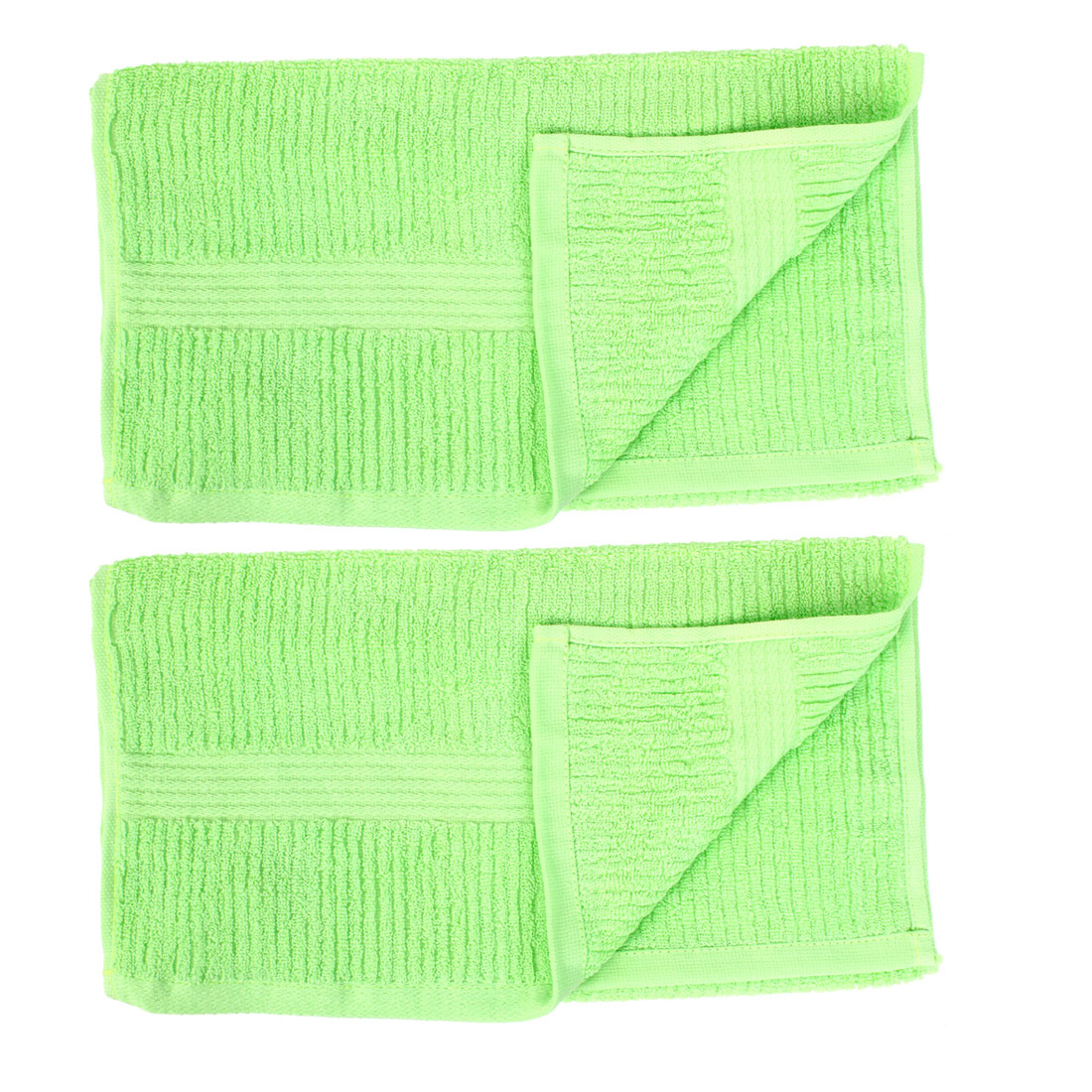 Cotton Blend Striped Retangle Shaped Hand Face Washing Terry Towel Washcloths 2pcs