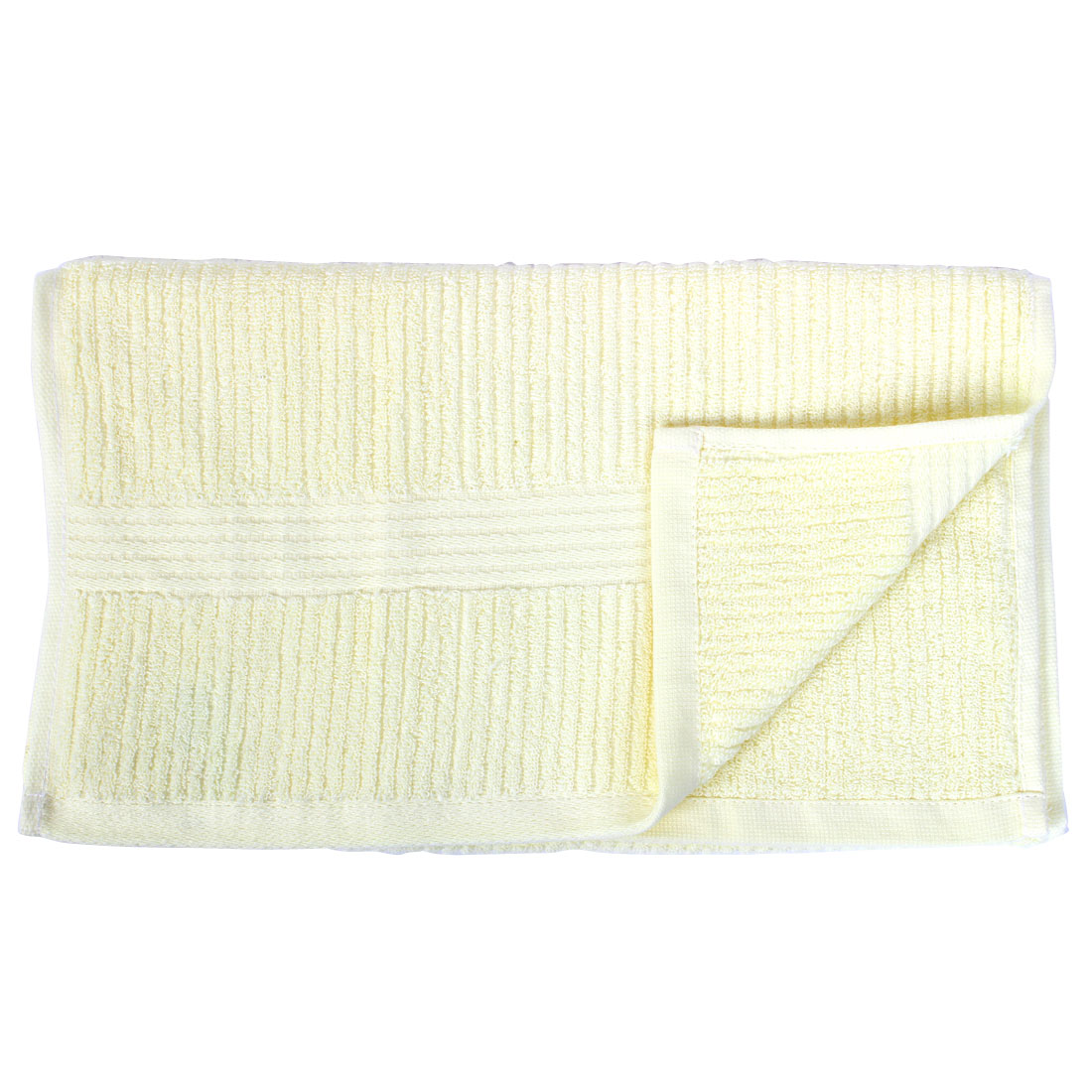 Home Cleaning Swimming Water Absorbent Stripe Pattern Face Towel Light Yellow
