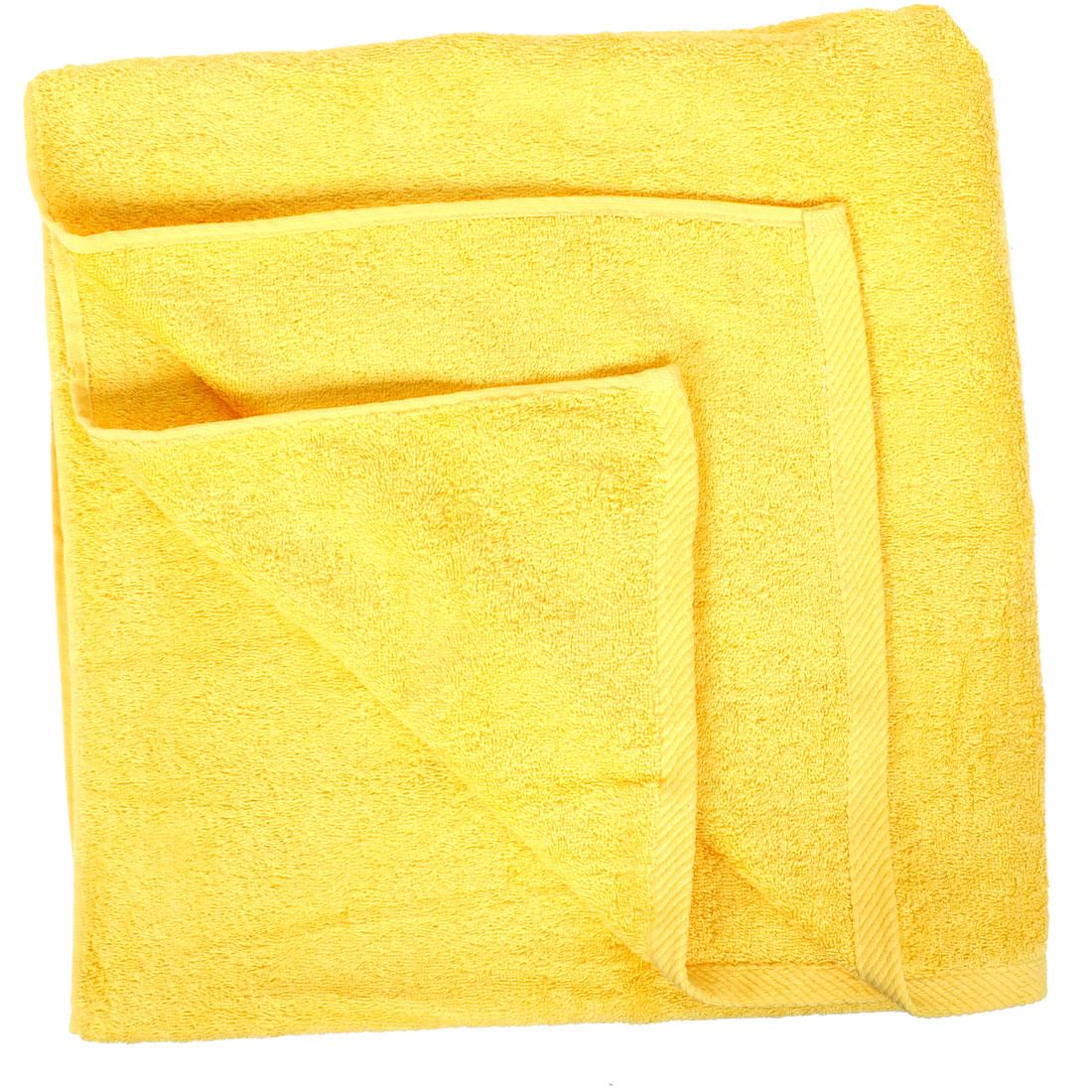 Cotton Blend Gym Beach Shower Bath Towel Sheet Washcloth Yellow 160 x 80cm