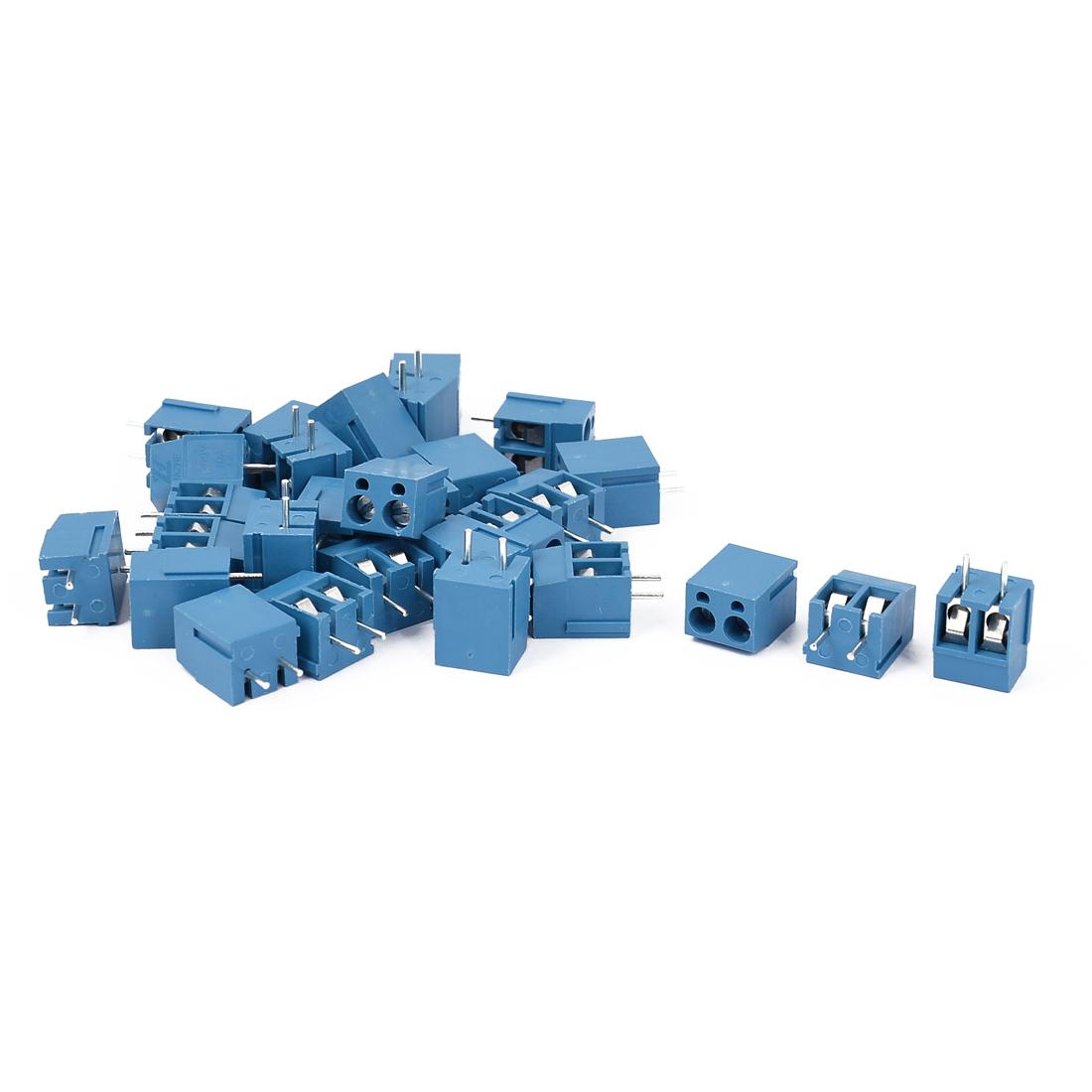 10A 300V 2 Way 2P PCB Mount Screw Terminal Block Connector Blue 29pcs