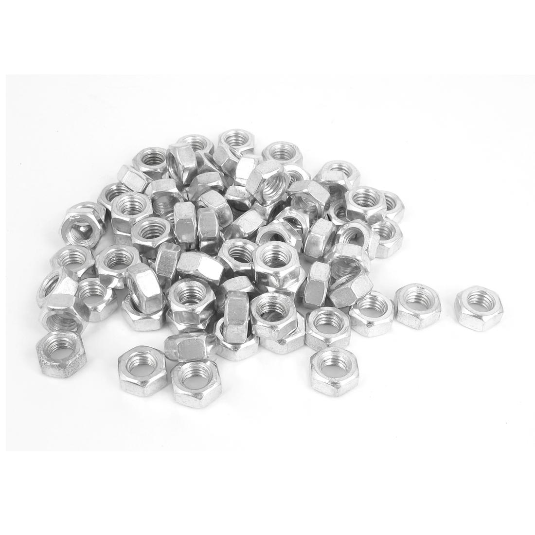 6mm Thread Dia Electric Machine Fastener Metal Screws Hex Nut Silver Tone 80Pcs