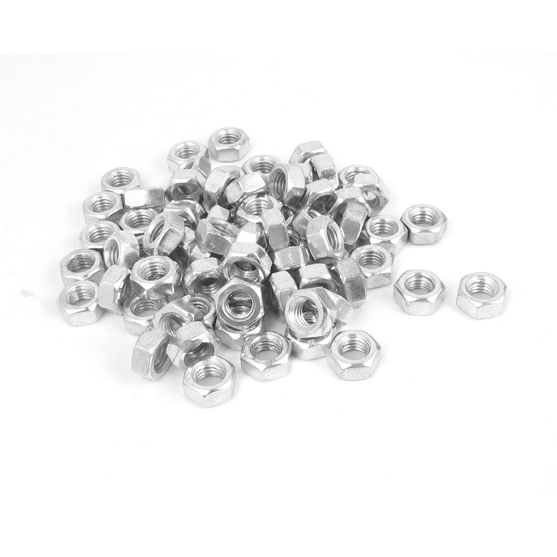 6mm Thread Dia Electric Machine Fastener Metal Screws Hex Nut Silver Tone 120Pcs