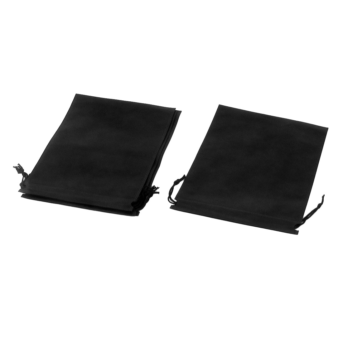 Traveling Clothes Dust Cover Storage Drawstring Bags 34 x 25cm Black 4pcs