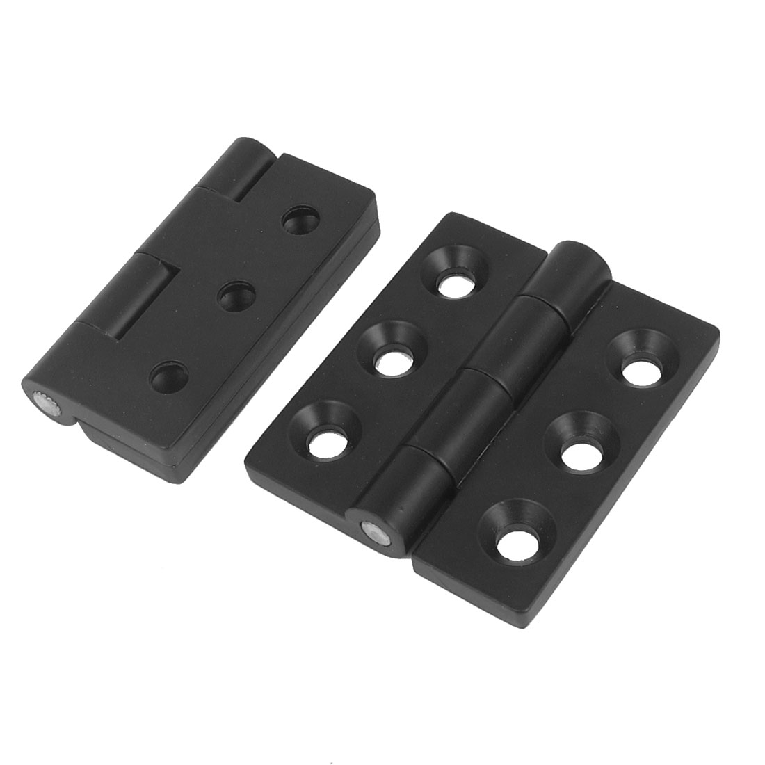 Furniture Cabinet Door Black Aluminium Ball Bearing Butt Hinge 64mm x 56mm 2pcs