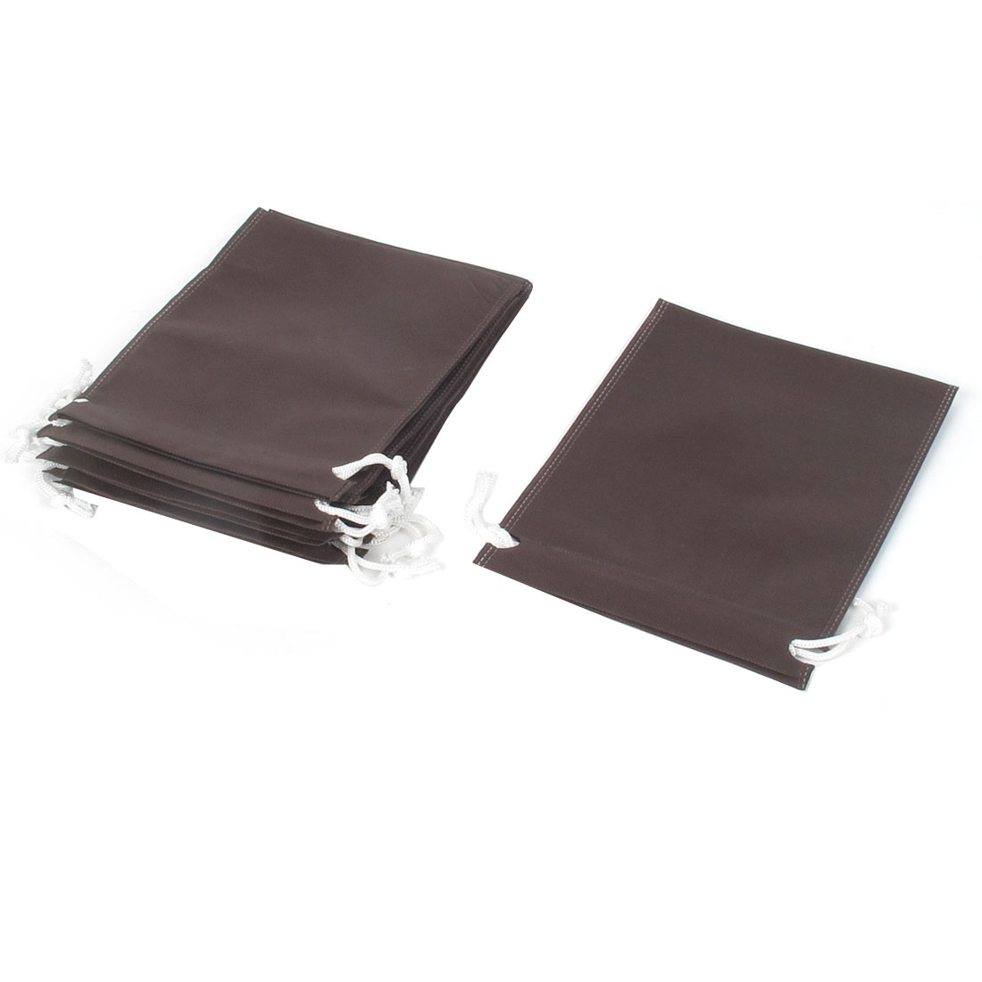 Traveling Clothes Dust Cover Storage Drawstring Bags 17x23cm Coffee Color 10pcs