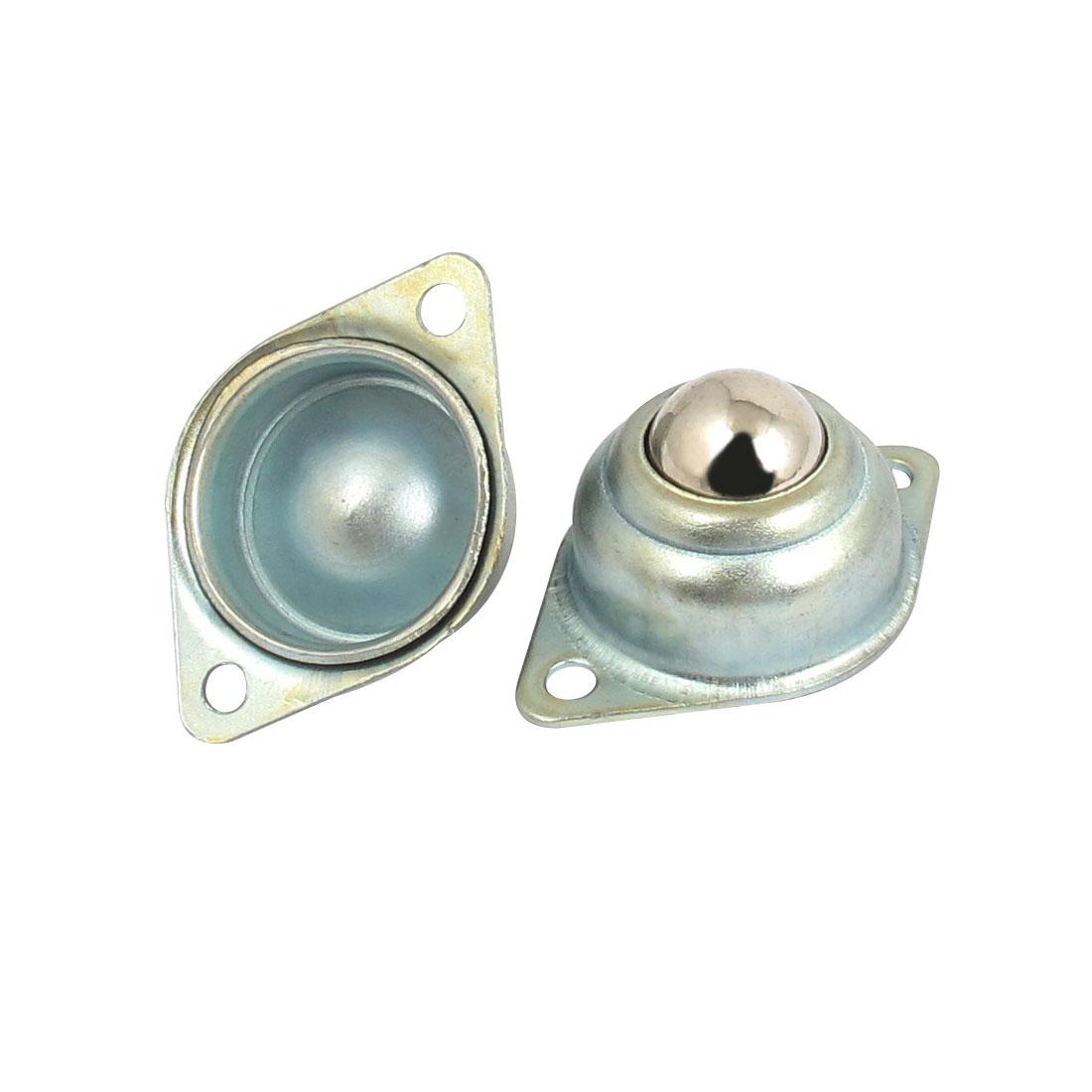 2pcs Silver Tone Metal Eye Shape 2 Holes Flange Mounting Roller Ball Transfer Unit Bearing