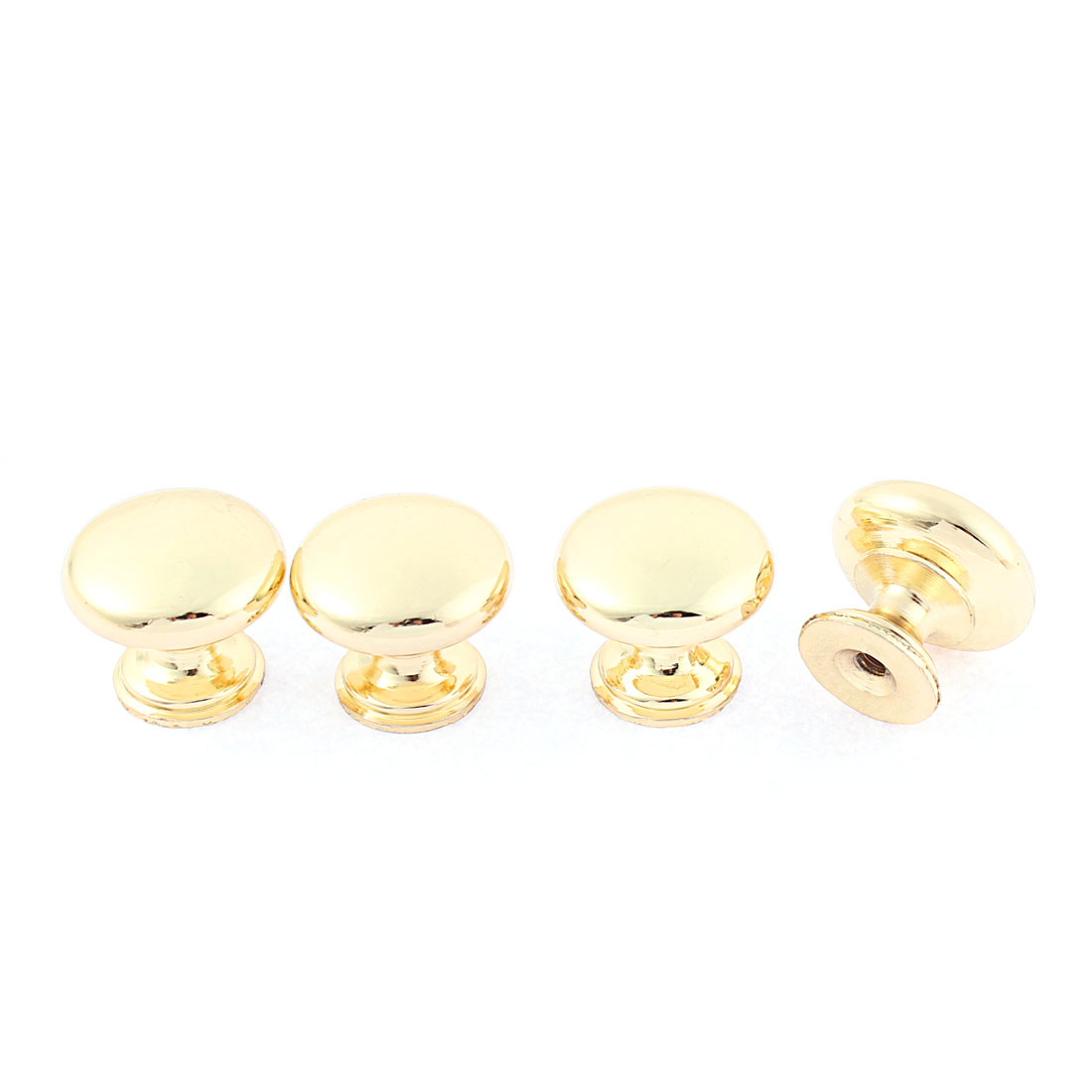 Kitchen Cabinet Drawer Round Knobs Gold Tone 25mm Dia 4Pcs