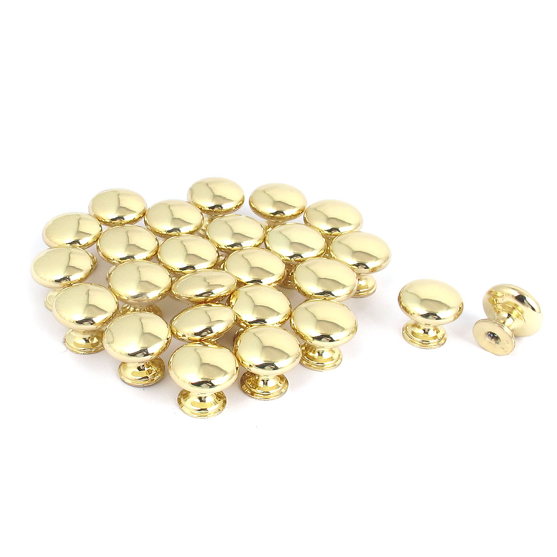25pcs 25mm x 22mm Metal Round Pull Knob Gold Tone for Cabinet Drawer