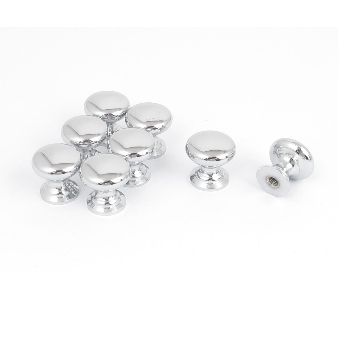 Furniture Drawer Cabinet Handle Round Pull Knob Silver Tone 18mm Dia 8 Pcs