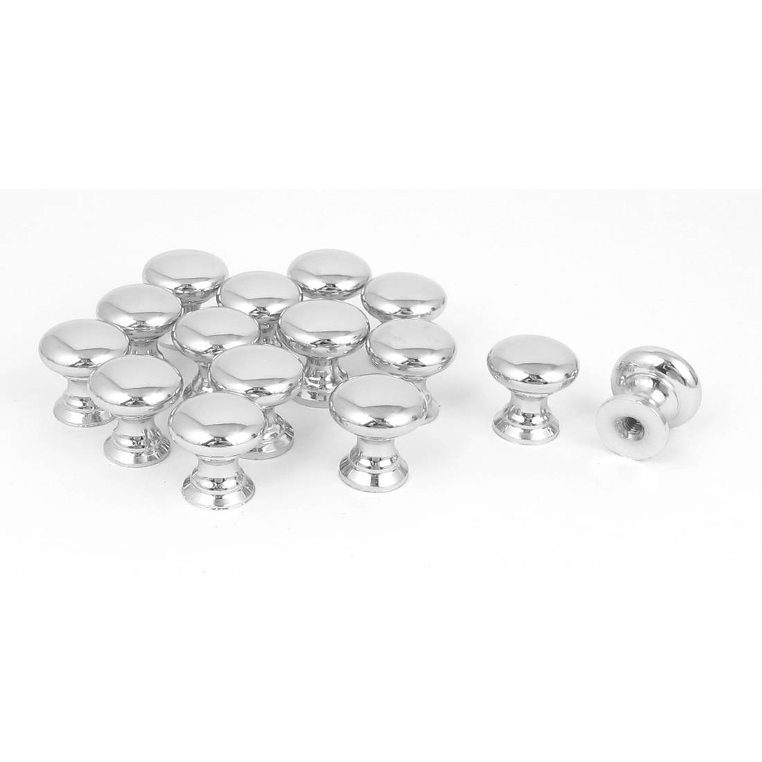 Furniture Cabinet Drawer 18mm Diameter Round Pull Knob Silver Tone 15Pcs
