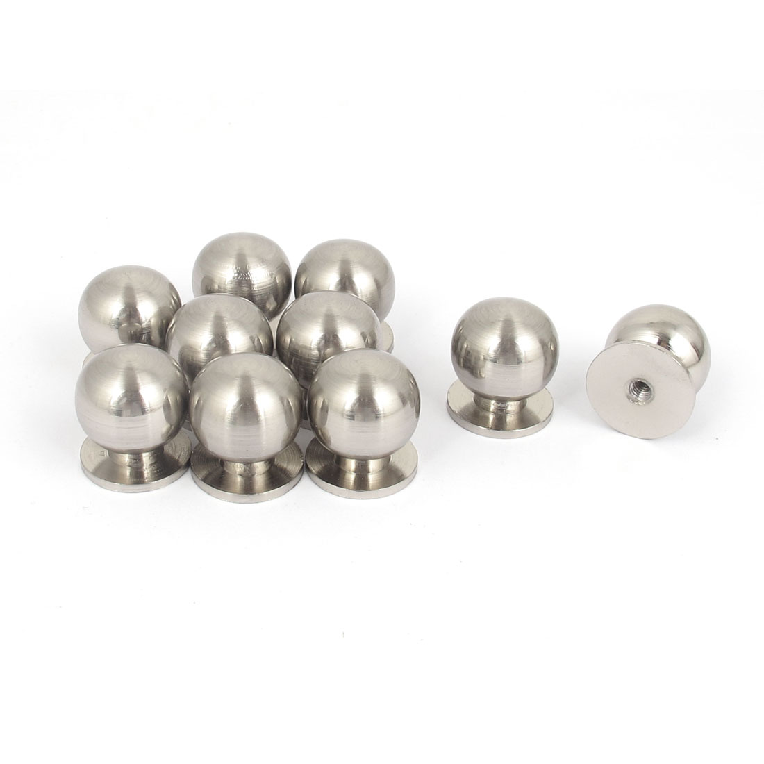 10Pcs 19mm Dia Metal Ball Shape Cabinet Drawer Door Handle Pull Knob Silver Tone