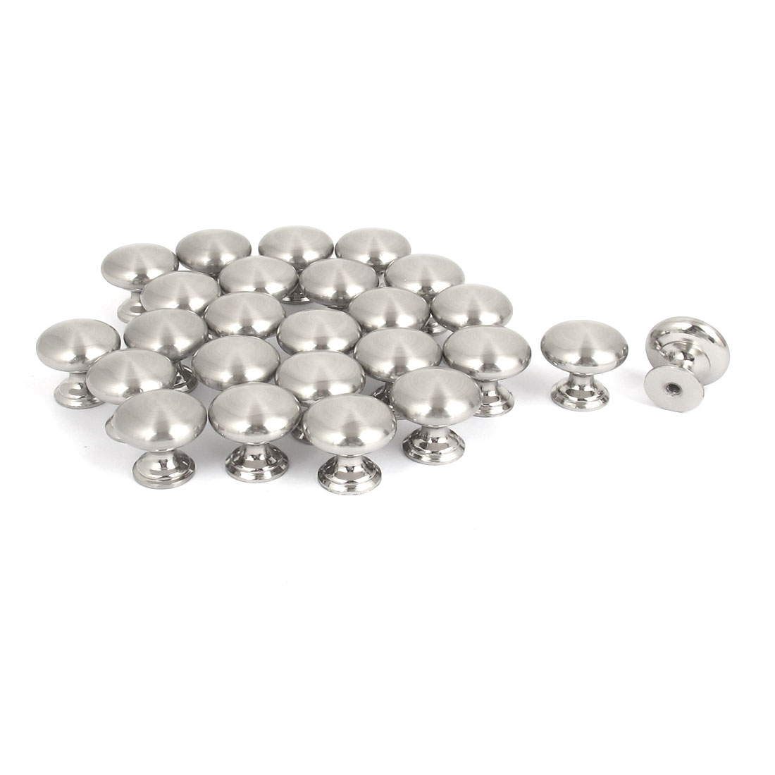 25pcs 25mm x 22mm Metal Round Pull Knob Silver Tone for Closet Drawer
