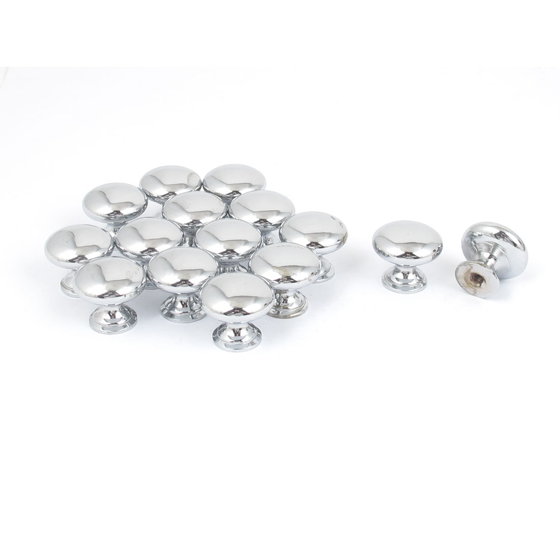 15pcs 25mm x 22mm Alloy Round Pull Knob Silver Tone for Cabinet Drawer