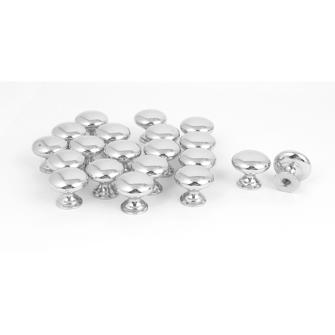 20pcs 25mm x 22mm Alloy Round Pull Knob Silver Tone for Cabinet Drawer