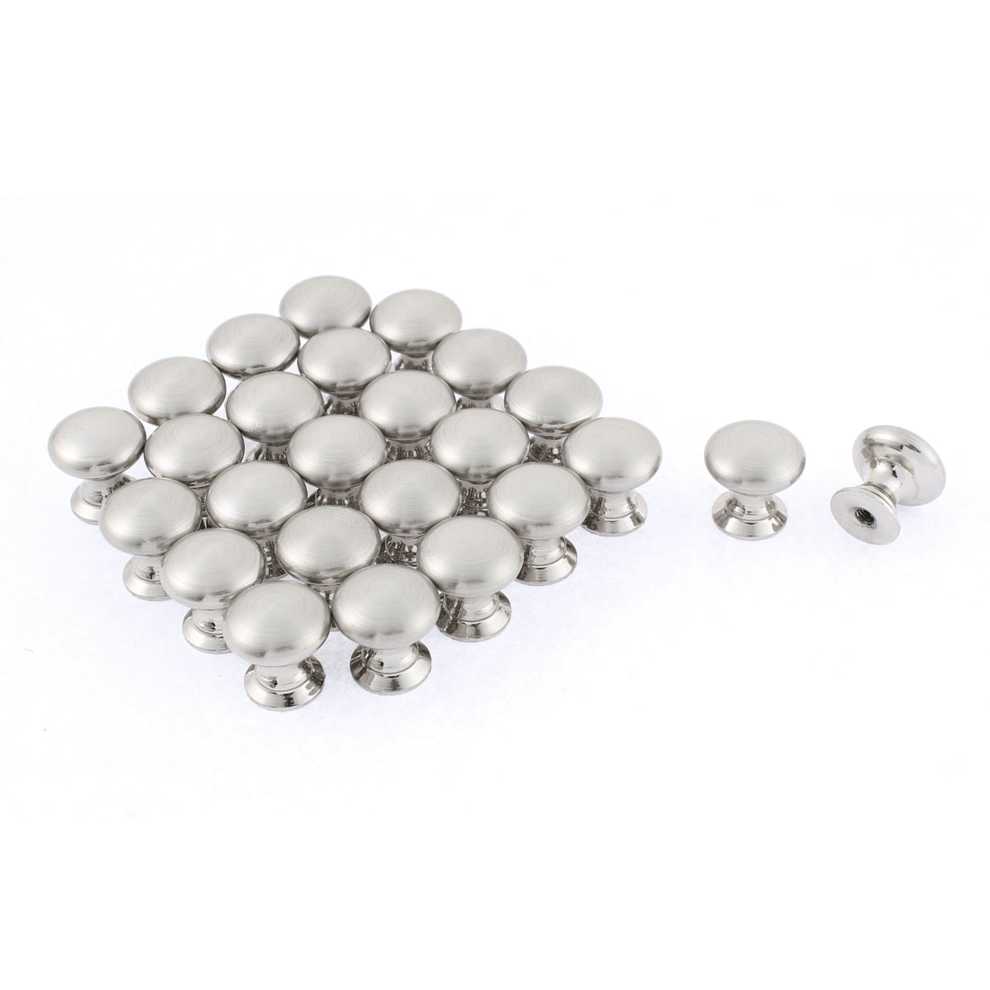 Home Office Cabinet Drawer Round Shape Pull Knob Silver Tone 13mm x 18mm 25Pcs