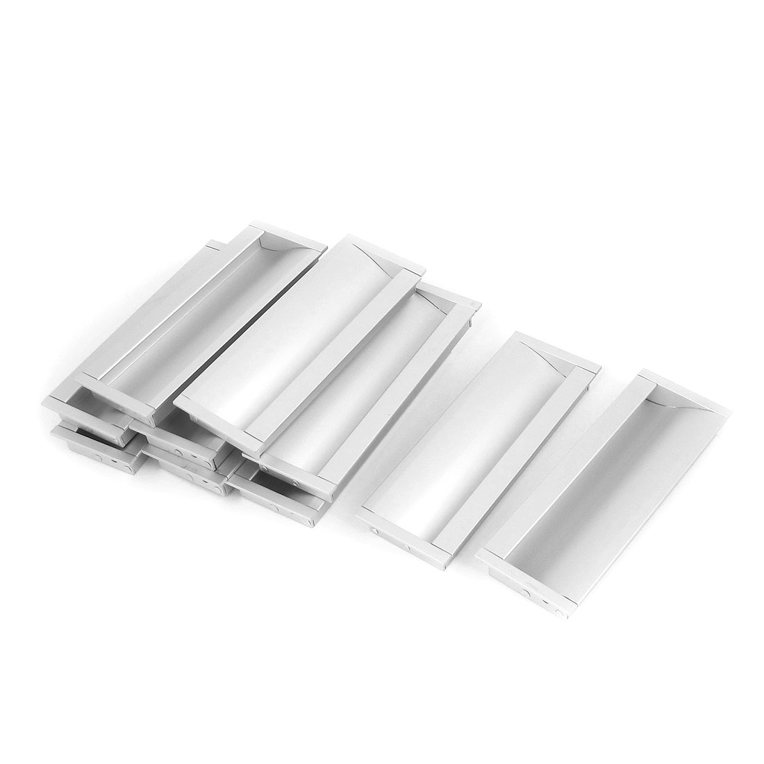 10pcs Silver Tone Metal Cupboard Recessed Flush Pull Door Finger Insert Handle 130mmx47mm