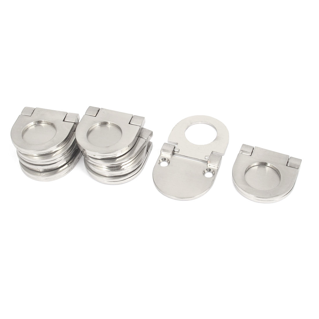 Cupboard Drawer Metal Flush Mount Pull Ring Handle Knob Silver Tone 10pcs
