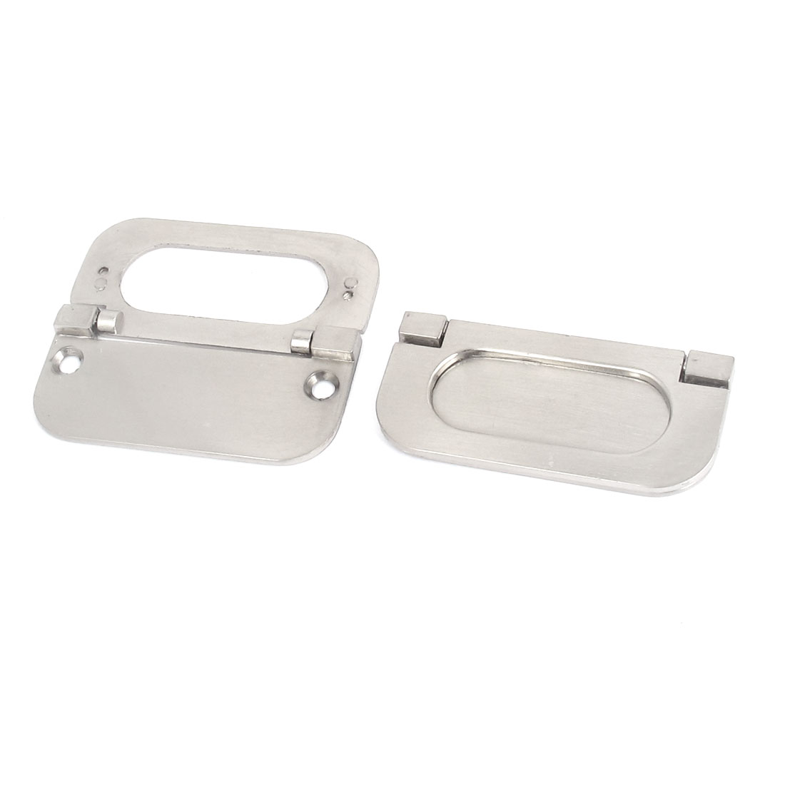63mm Fixing Distance Cabinet Metal Rectangle Pull Handle Silver Tone 2 Pcs
