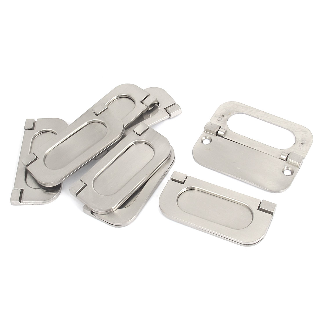 63mm Fixing Distance Cabinet Metal Rectangle Pull Handle Silver Tone 8 Pcs