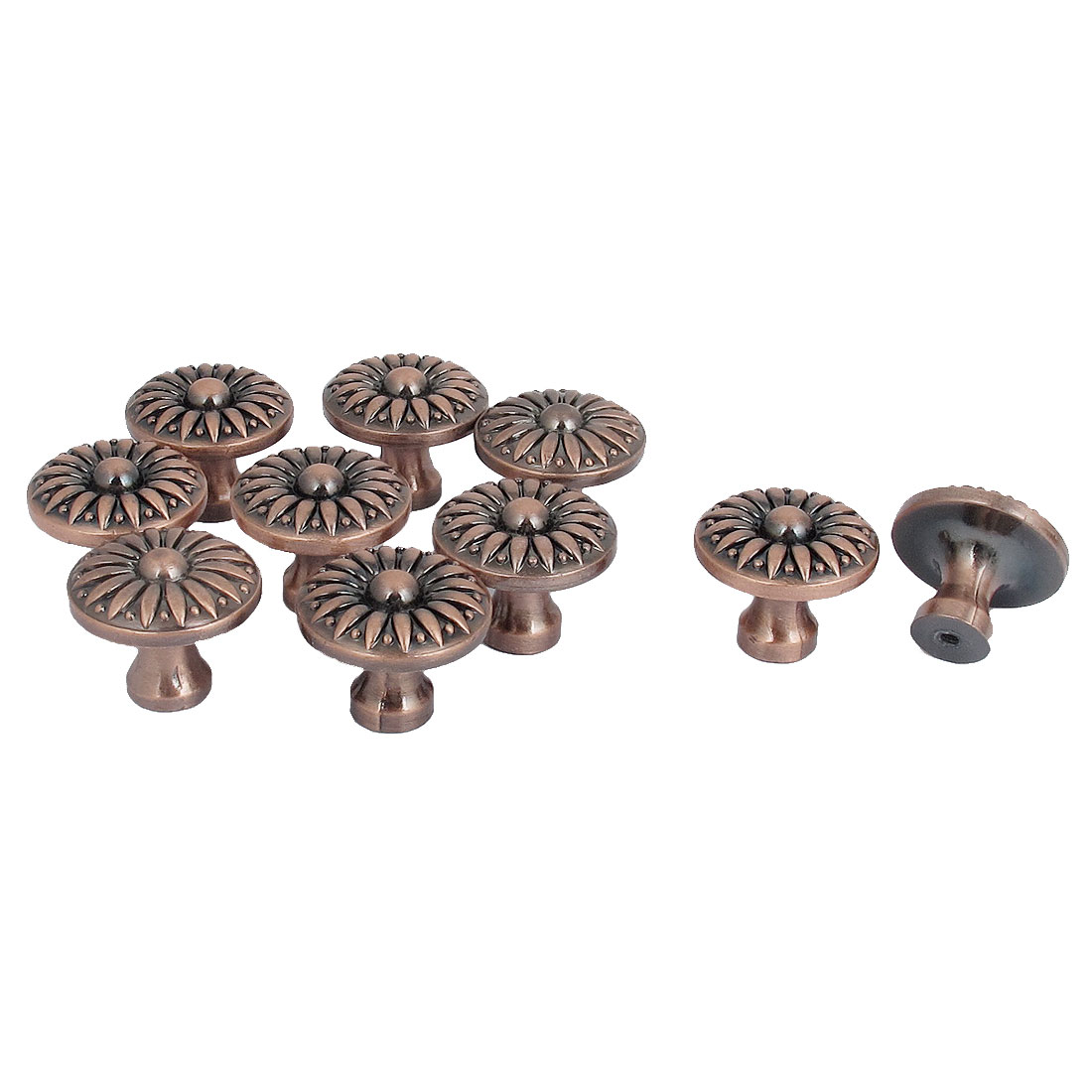 Retro Style Furniture Cabinet Drawer Flower Design Pull Handle Knob Copper Tone 10pcs