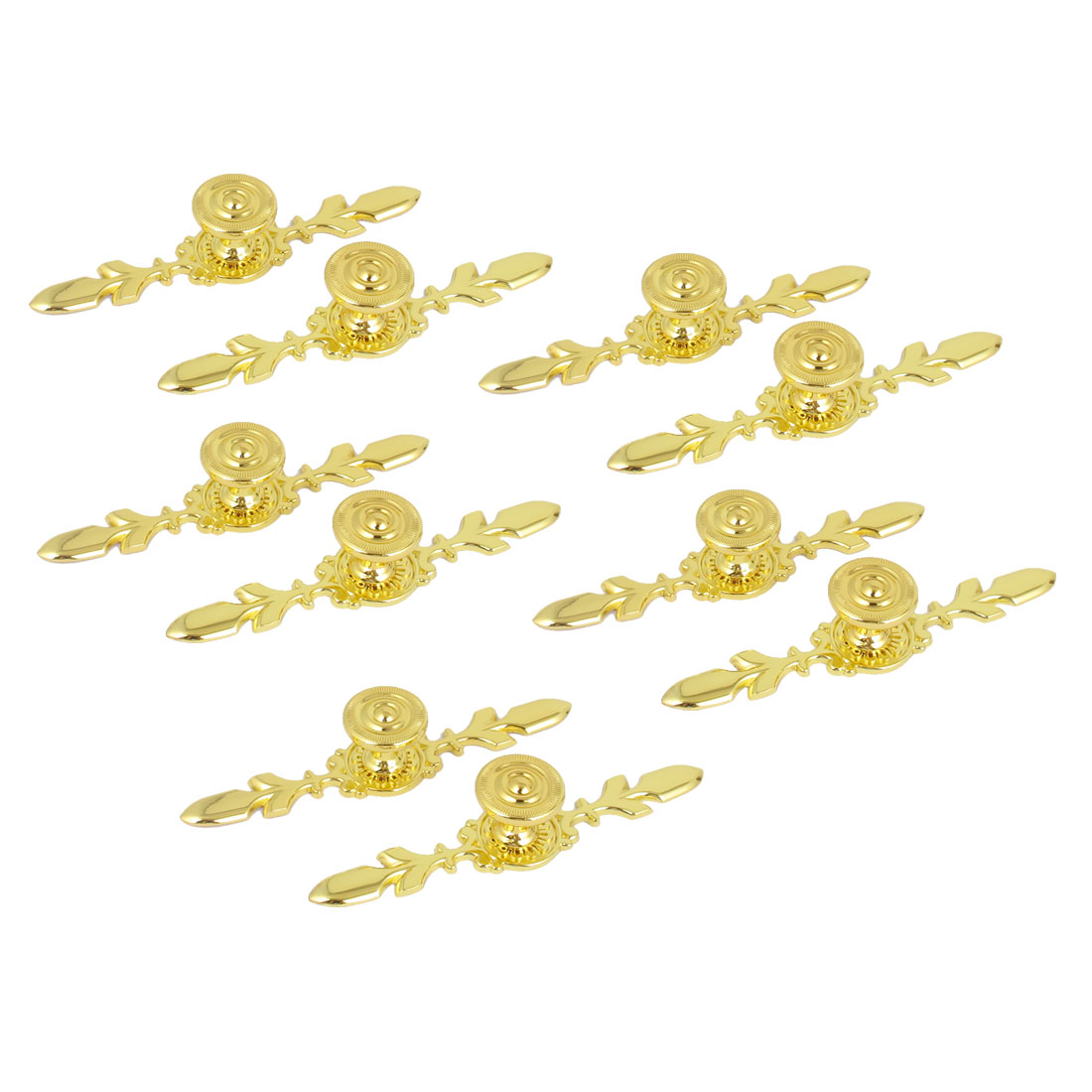 Furniture Cabinet Drawer Closet Door Zinc Alloy Pull Handle Grip Gold Tone 10pcs