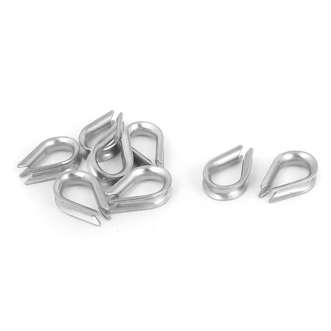Stainless Steel 2mm Wire Rope Cable Commercial Thimbles Lifting Gear Silver Tone 10pcs