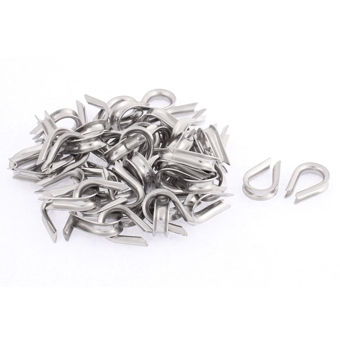 Stainless Steel 3mm Standard Wire Rope Cable Thimbles Rigging Silver Tone 50pcs