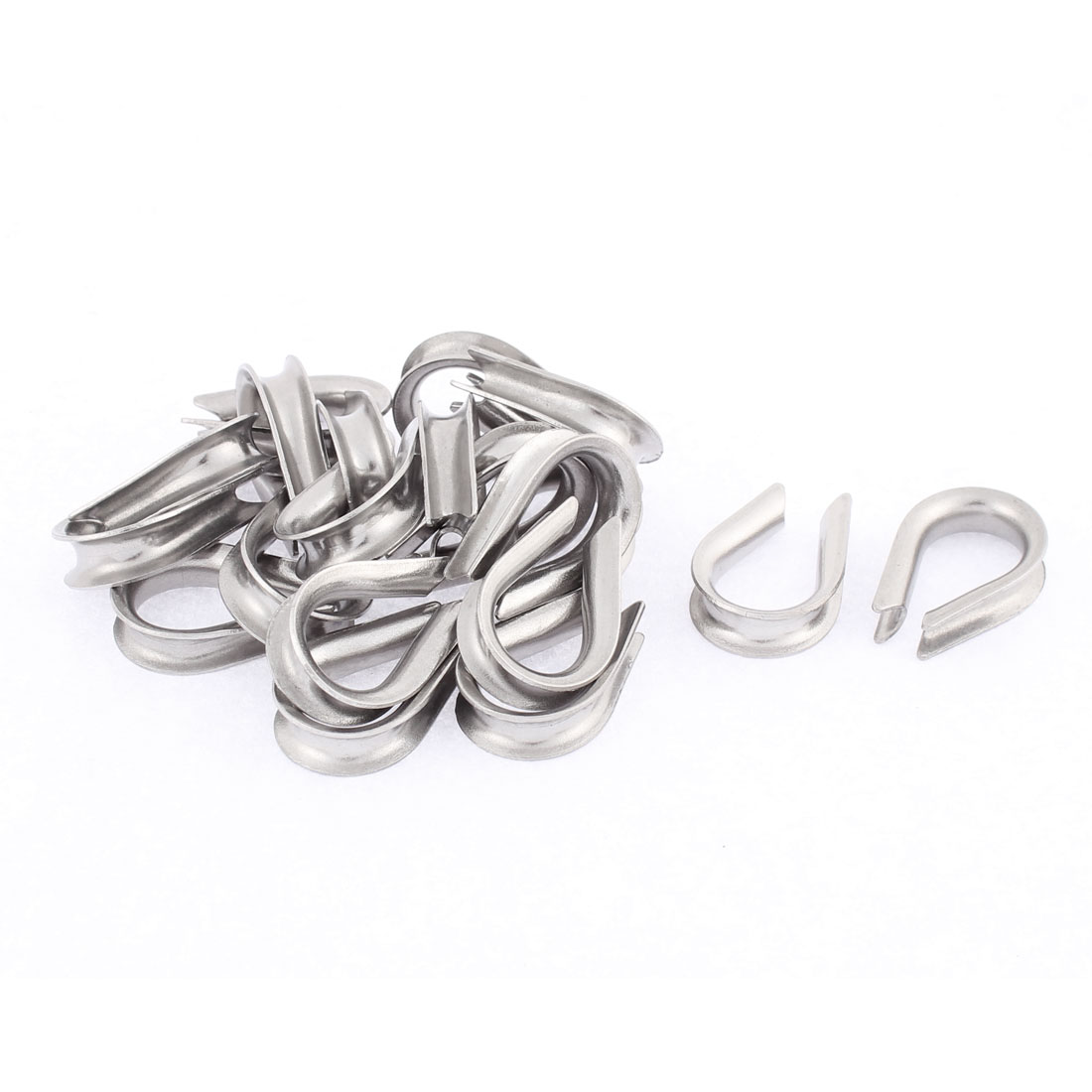 Stainless Steel 4mm Standard Wire Rope Cable Thimbles Rigging Silver Tone 20pcs