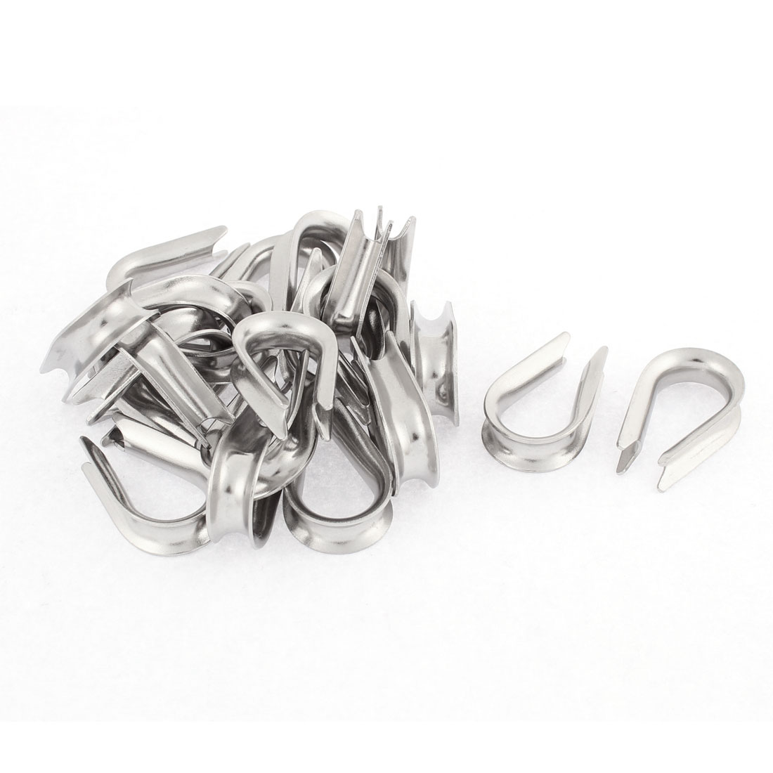 Stainless Steel 5mm Standard Wire Rope Cable Thimbles Rigging Silver Tone 20pcs