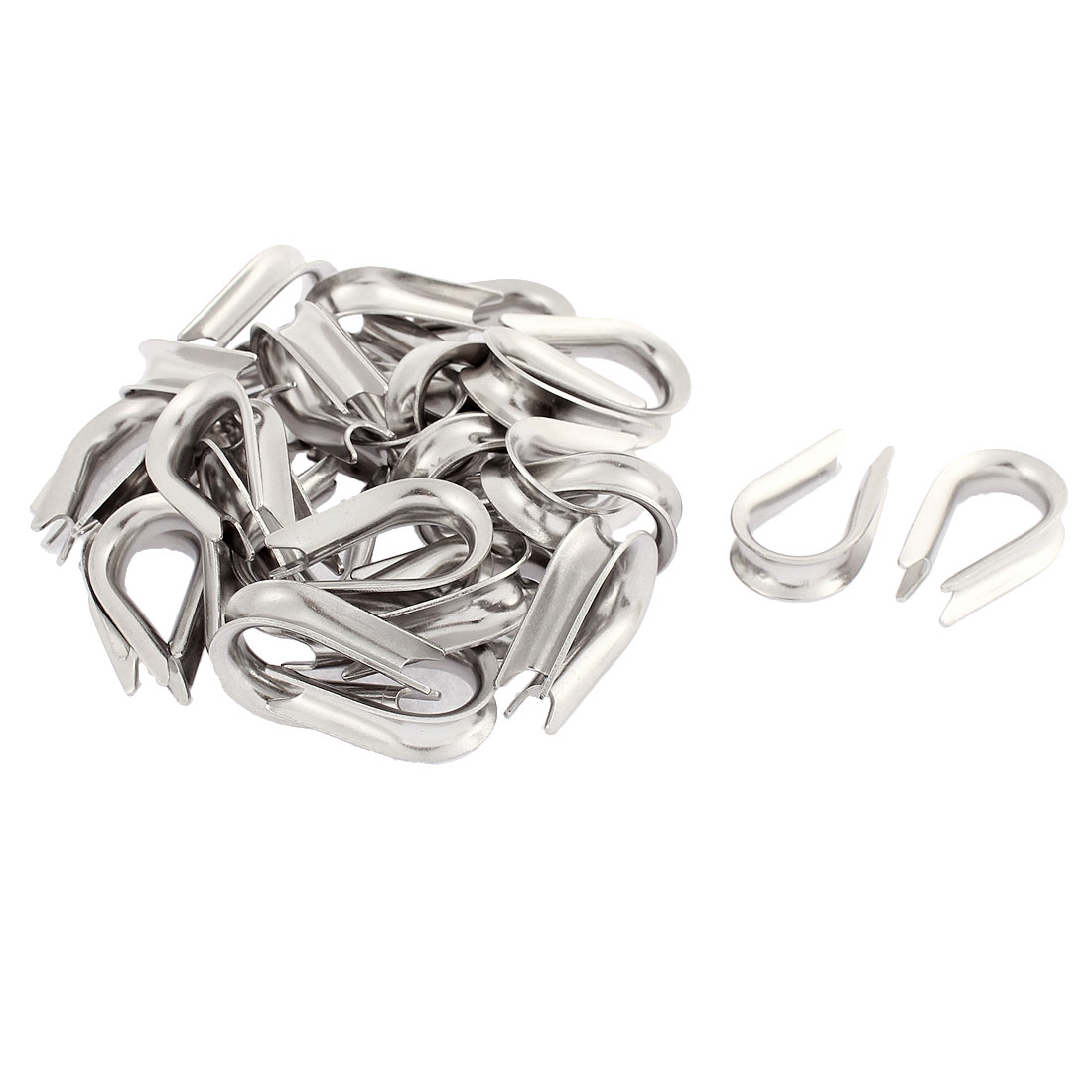 5mm Standard Wire Rope Cable Thimbles Lifting Gear Silver Tone 30pcs