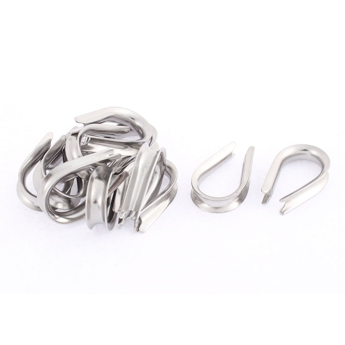 Stainless Steel 6mm Standard Wire Rope Cable Thimbles Silver Tone 12pcs